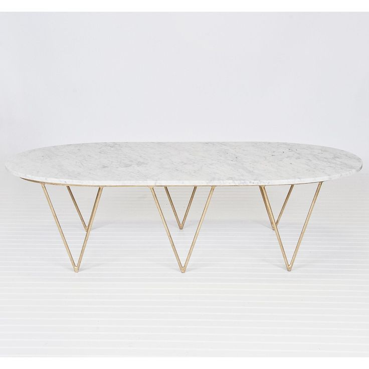 Surf Coffee Table With White Marble Top Gold Leaf