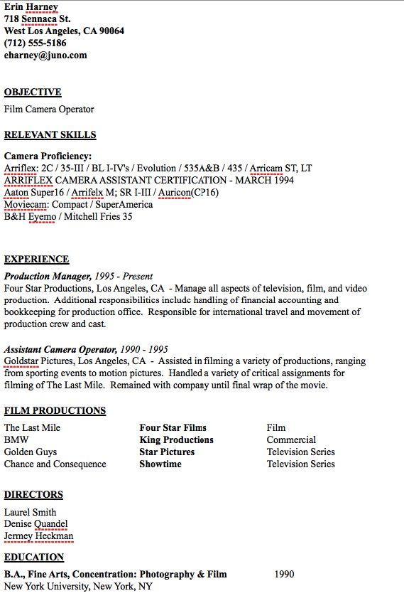 Camera Operator Resume Sample - http\/\/resumesdesign\/camera - paralegal sample resume