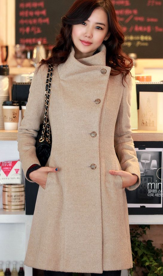 very contemporary large, stand up collar single side line buttoned women's coat in soothing beige!