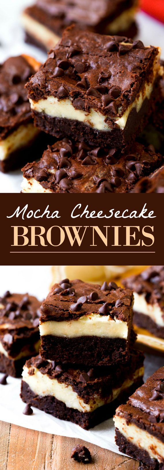 Mocha cheesecake brownies with a homemade mocha brownie layer, cheesecake, white chocolate chips, and more chocolate on top! Recipe on sallysbakingaddiction.com