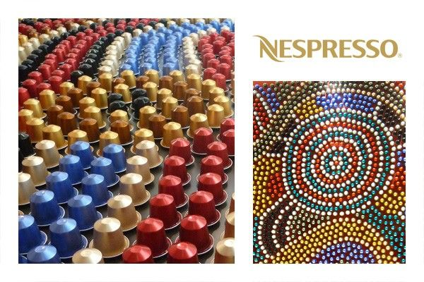 Balarinji coffee capsule art installation in Nespresso's Australian boutiques. Nespresso is the founding sponsor of Indi Kindi, an Aboriginal pre-literacy program developed by the Jumabana Group.