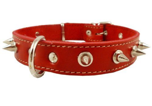 Real Leather Red Spiked Dog Collar Spikes 1 Wide Fits 1417 Neck Medium Breeds -- Check out the image by visiting the link.Note:It is affiliate link to Amazon.