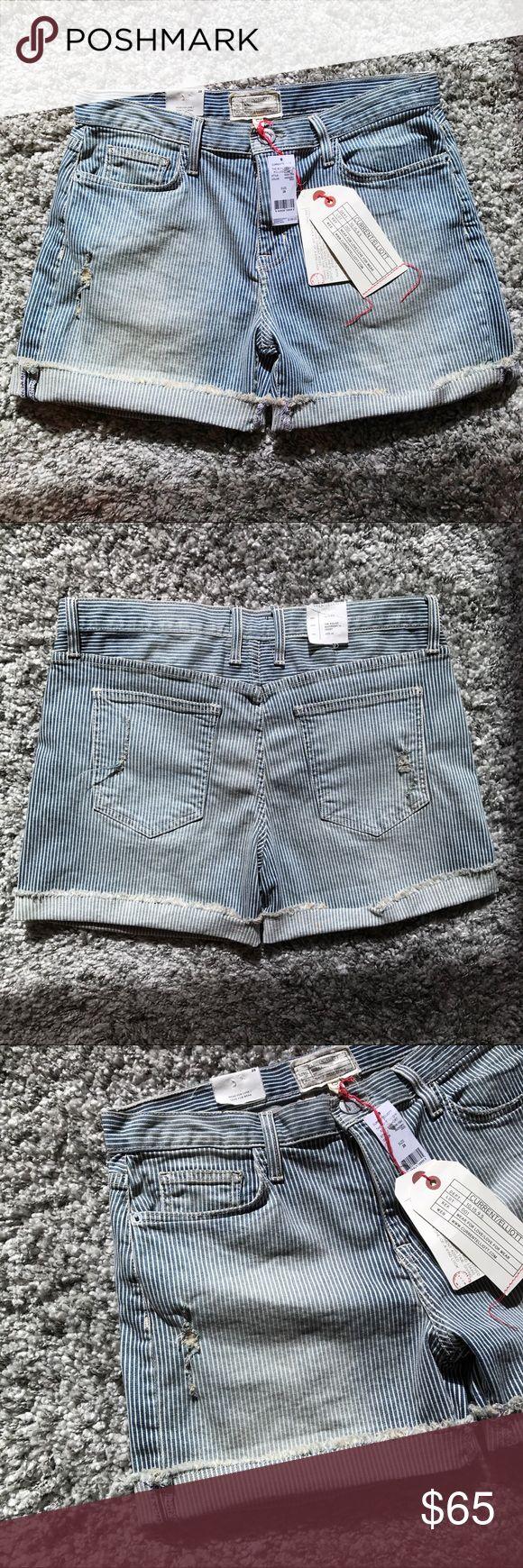 "NWT🔥Current/Elliott Boyfriend Rolled Shorts NWT🔥Current/Elliott Striped Boyfriend Rolled Shorts. Size: 28"" Length: 13.5""-14.""  Retail Price: $188  #currentelliott #28 #shorts #boyfriend #striped #stripe #rolled #rollup #jeans #wornout #ribbed #nwt #denim #denimshorts Current/Elliott Shorts Jean Shorts"
