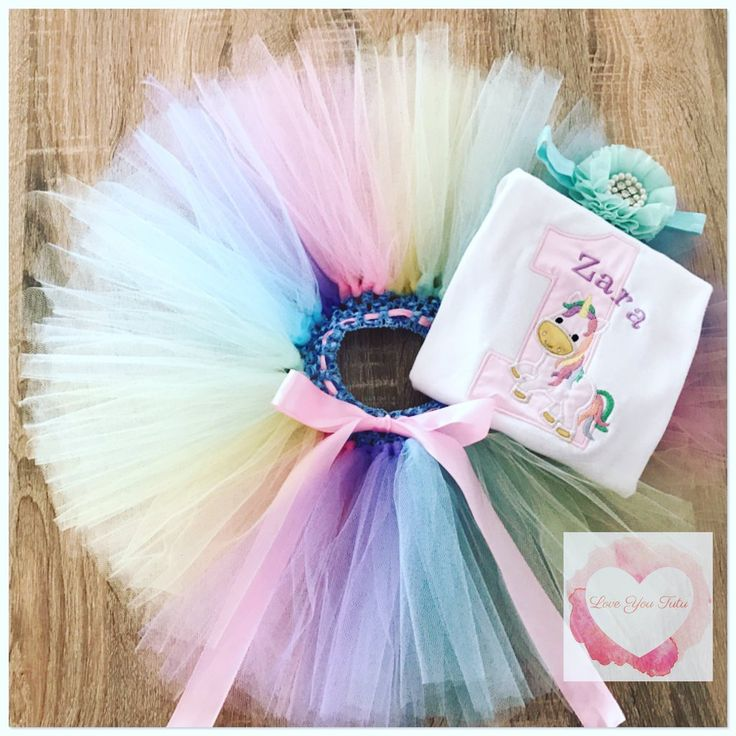 Embroidered pastel Unicorn numbered tutu set