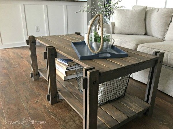 Rustic Farmhouse Coffee Table - Sawdust 2 Stitches (free plans and cut list)