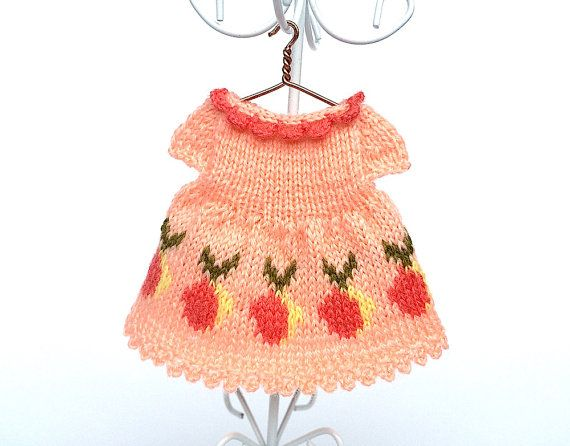 Miniature knitted doll dress with  peaches Fruit by AnnaToys
