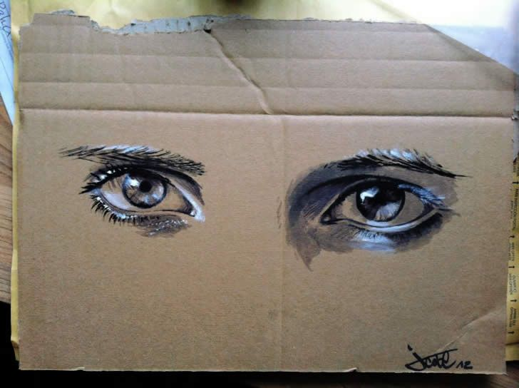 Spray painting of an eye by JustCobe (2)  cardboard art