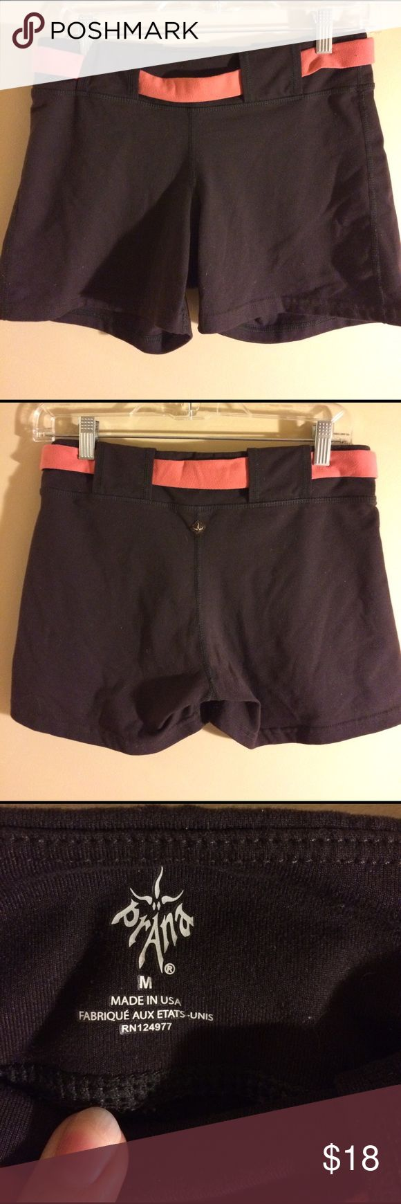Prana workout shorts women's size medium GUC brown shorts with attached orangey accent belt. Soft recycled polyester and spandex material. Smoke free home. Bundle to save more. Prana Shorts