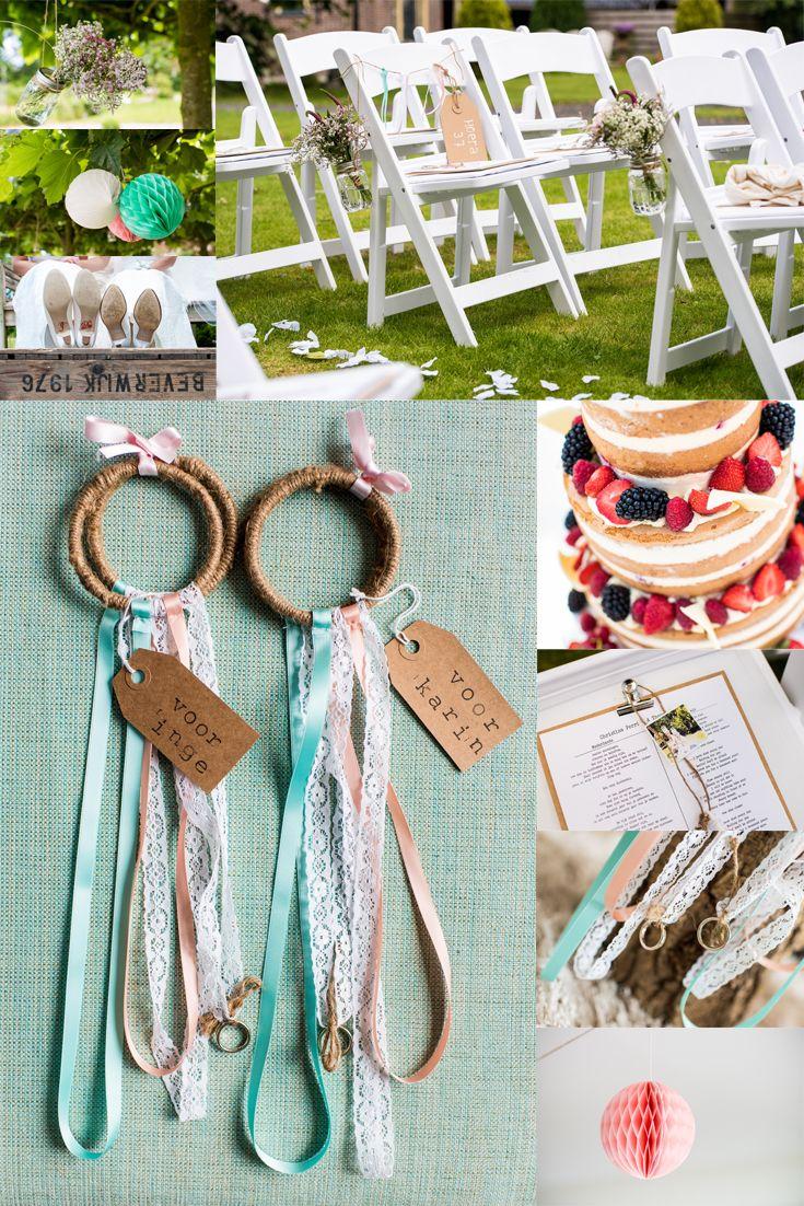Prachtige zomerbruiloft met perzik, mint en wit thema. Mooie DIY styling en toffe ringdragers! #diy #bruiloft #twiskerslot #naked wedding cake #bruidstaart #wedding #ringdragers #rings