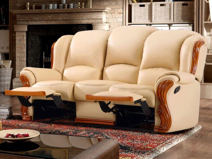 Canapé 3 places relax en cuir LOUMEA coloris beige - Vente Unique