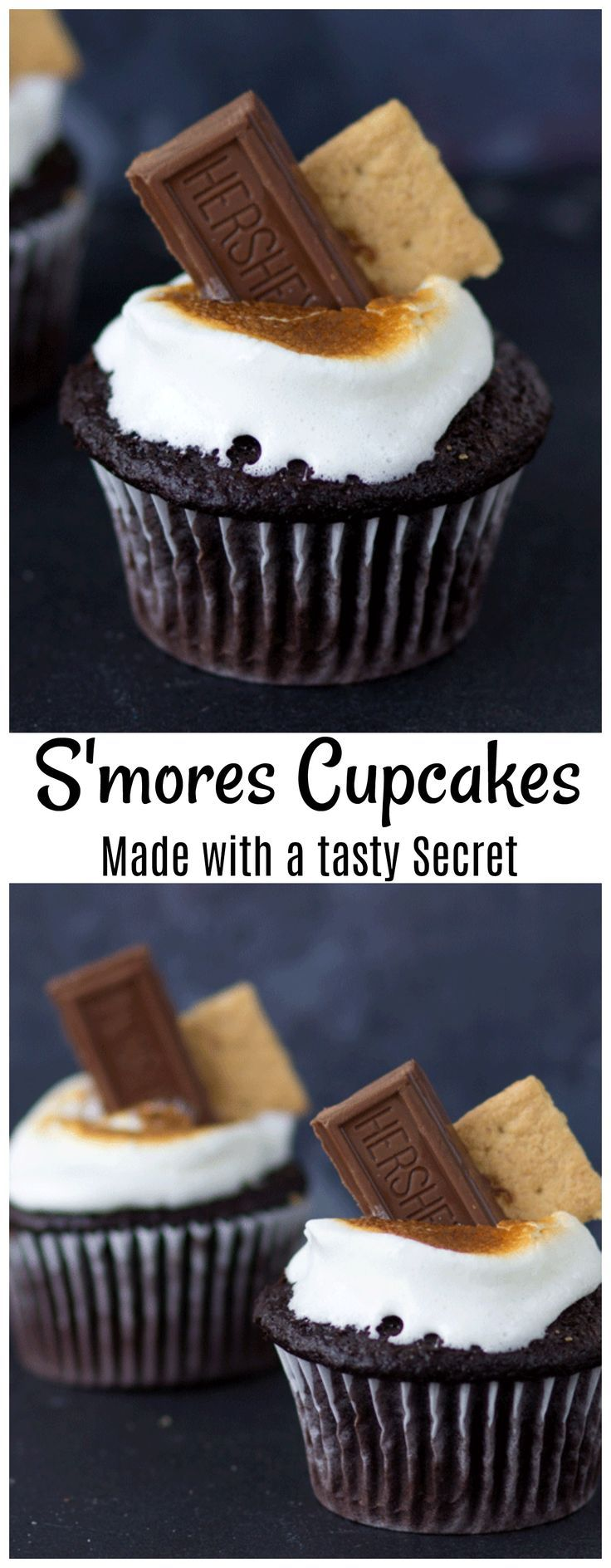 S'mores Cupcakes with Secret Filling! These S'Mores cupcakes are the perfect way to get your s'more craving fixed when you can't get to a campfire!