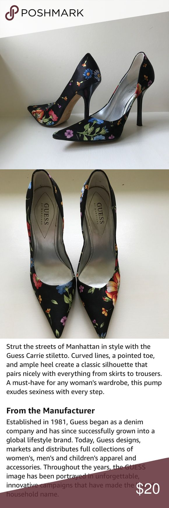 Guess by Marciano Floral Carrie Pump Heels 💎Guess by Marciano Floral Carrie Pump Heels. Classic Guess heels named after the founder of Guess, Paul Marciano. Leather Sole!  💎Have been worn 1-2x however the only signs of wear can be seen on the bottom and inside of the shoes! Small marks are seen on the inside, scuffs on the bottom, won't notice any of the tiny flaws! 💎Classy Black Floral print would look fantastic with slacks or jeans, or a dress or skirt! Take a peek at my other…
