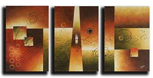 OdeRin Art Christmas Gift 100 Hand Painted Abstract OdeRin Art Christmas Gift Oil Paintings Various Shapes 3 Panels Wood Framed Inside For Living Room Art Work Home Decoration * Click on the image for additional details.