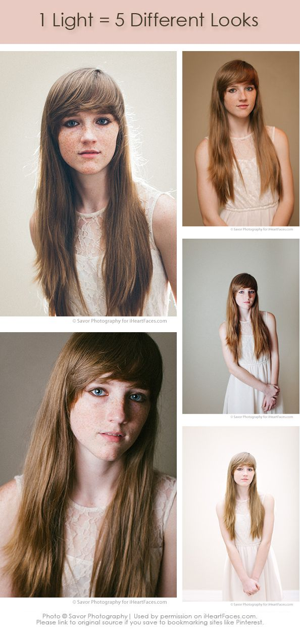 5 Different Looks with 1 Light. Off Camera Lighting Tips. #Photography Tutorial via iHeartFaces.com