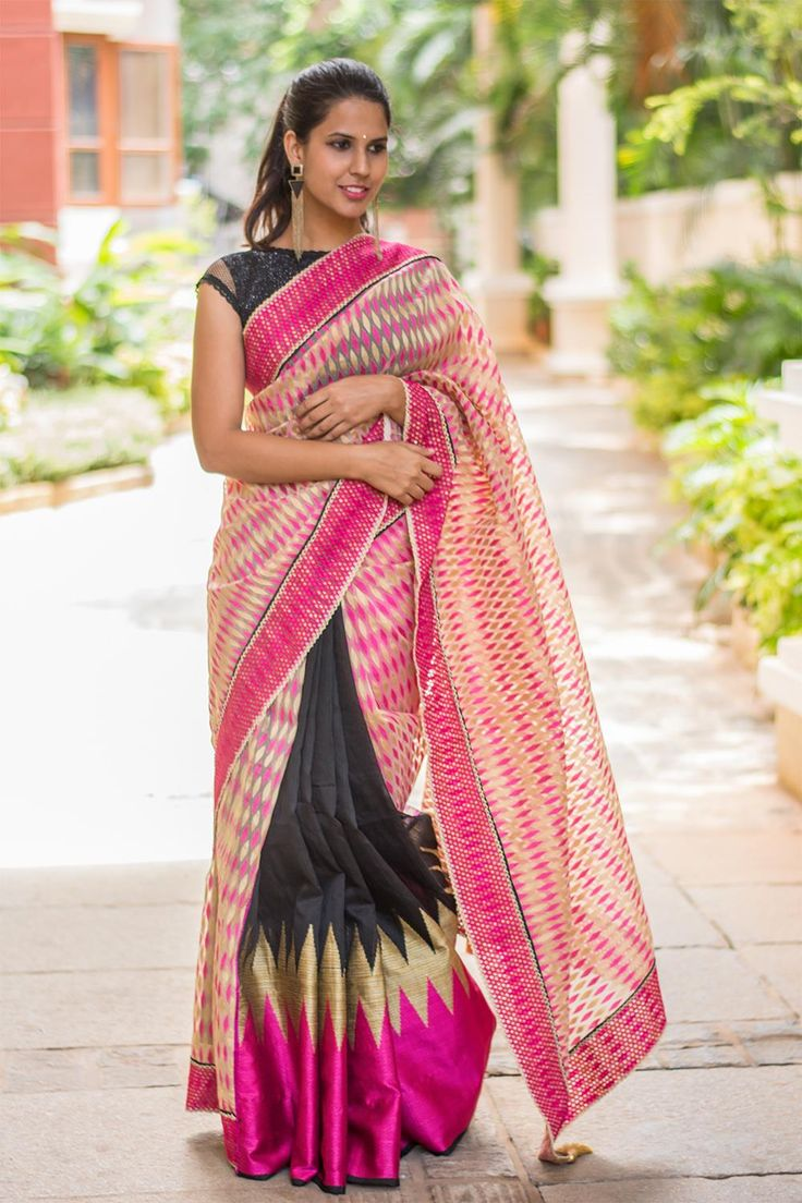 We are definitely crushing over pink this season.. What's even hotter is pink with black! This black chanderi is for the lady who wants the best of both worlds :) Pair it with a hot pink mouth and cream blouse and this half-and-half saree is bound to keep you ahead of the game… #black #pink #chanderi #cream #organza #saree #India #blouse #houseofblouse
