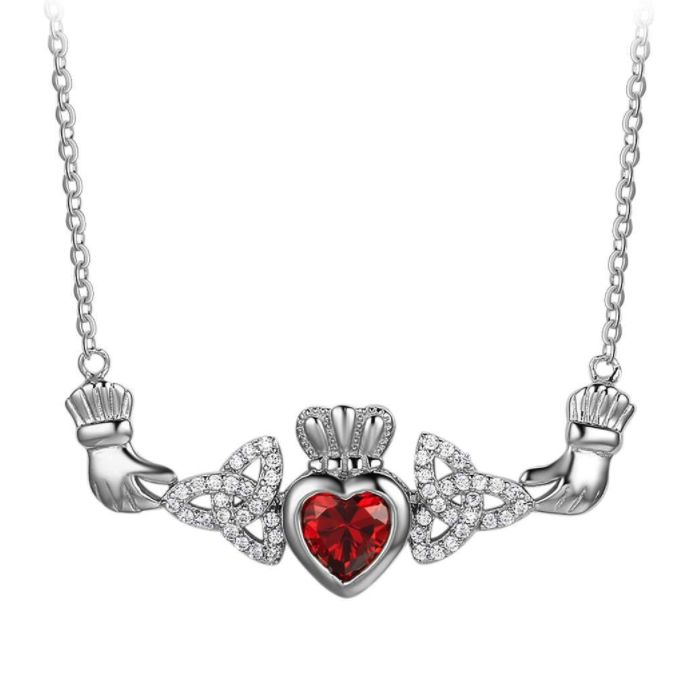 Post Included Aus Wide and to most international countries! >>>  Claddagh Birthstone Heart Necklace - 925 Sterling Silver