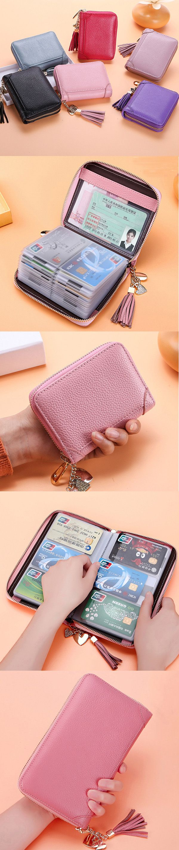 US$17.21  Genuine Leather Multi-slots 20/40/60 Card slots Zipper Card Holder