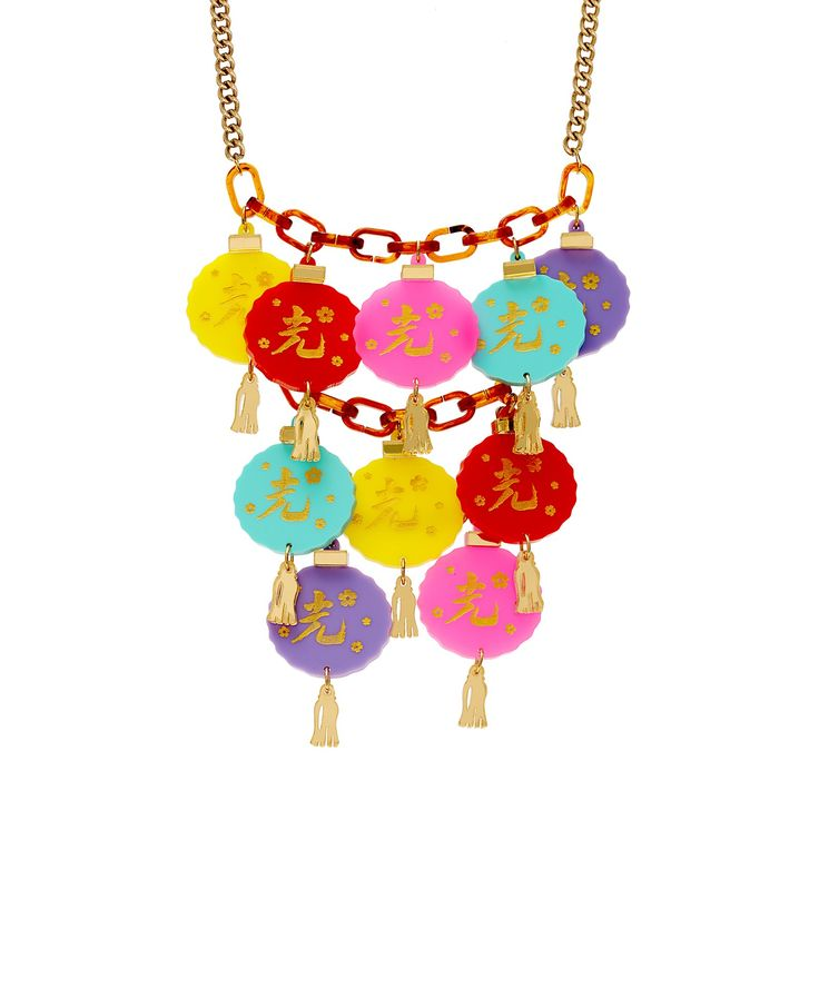 Oriental Lantern Statement Necklace - Journey to the Far East with the Oriental Lantern Statement Necklace. Chinese paper lanterns are laser cut in an array of colourful acrylic and embellished with golden tassels and hand inked motifs. Layer this striking necklace over silk for Eastern elegance.
