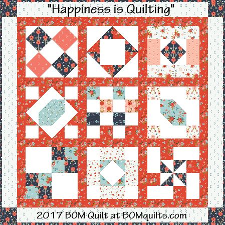 Free Quilt Patterns From Pinterest : Free 2017 Block of the Month Quilt Pattern: Happiness is Quilting BOMquilts.com Free Quilt ...