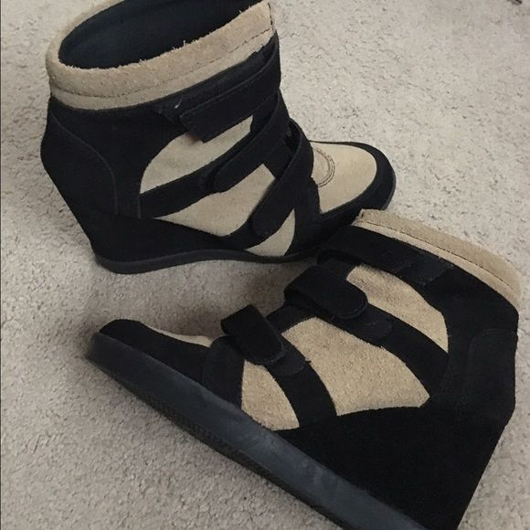 Black and beige wedges Black and beige wedged bought in Italy worn once. Shoes