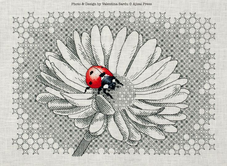 LADYBUG & DAISY - by Valentina Sardu for Ajisai Designs - cross-stitch and blackwork pattern for sale - love her shading to give a three dimensional look                                                                                                                                                      More