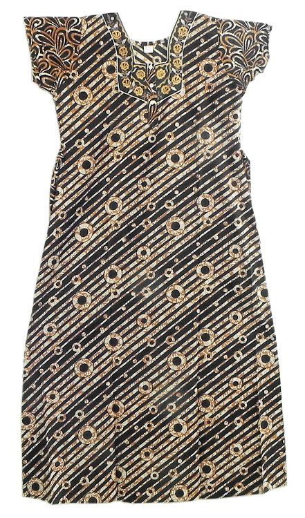 Embroidered Neckline with Brown Print on Black Cotton Maxi (Cotton)