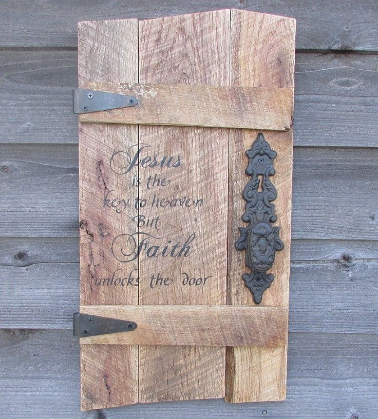"This Primitive Rustic wood Sign is made of reclaimed pallet wood, it measures approximately 26"" X 13"" It is hand painted, and includes Ornate hinges and a rustic door knob. It has the scripture verse"