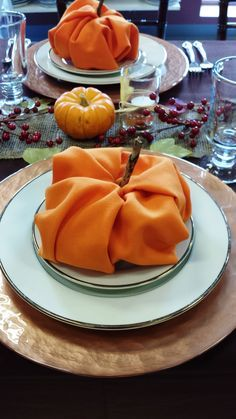 pumpkin napkin fold - Google Search