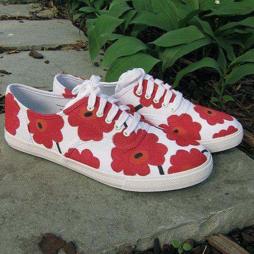Turn your keds into floral, Marimekko-inspired tennies.  http://www.justcraftyenough.com/2012/05/project-marimekko-inspired-sneakers/
