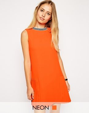 Asos Shift Dress in Orange with pleats | $76