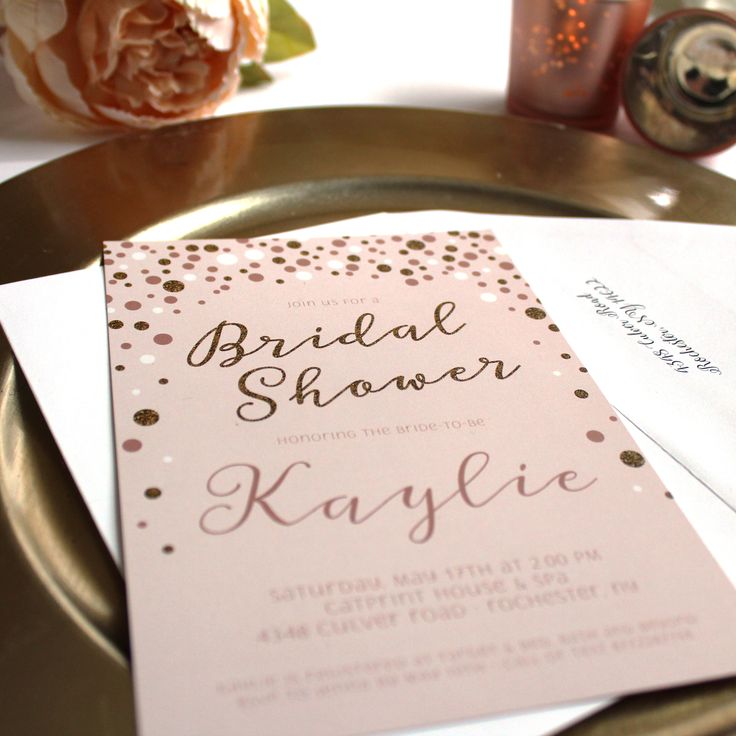 Pink white and gold bridal shower invitation