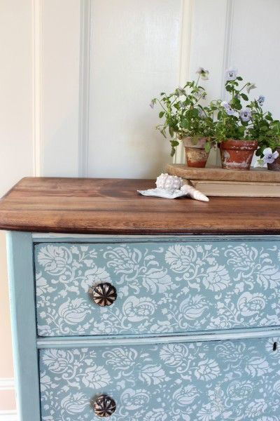 A lovely stenciled dresser finished in Duck Egg Blue & Old White Chalk Paint® decorative paint by Annie Sloan | By Finding Silver Pennies