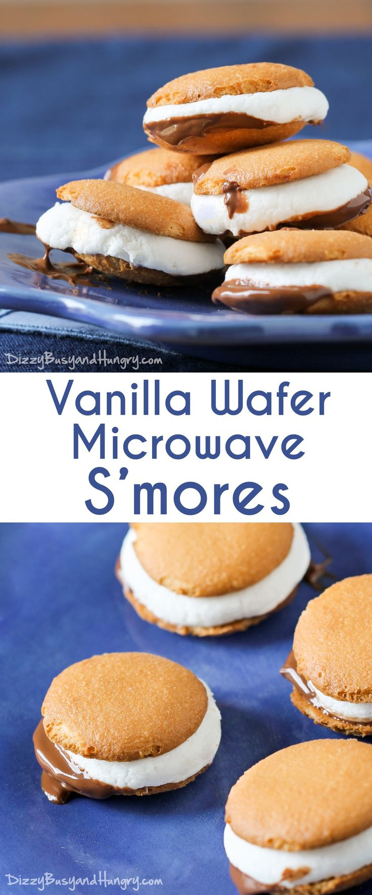 Vanilla Wafer Microwave S'mores | DizzyBusyandHungry.com - Cute, two-bite s'mores you can make in your kitchen in less than 5 minutes! #TriplePFeature