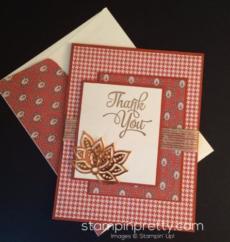 Pretty autumn thank you card using Paisley Framelits Dies.  Mary Fish, Stampin' Up! Demonstrator.  1000+ StampinUp & SUO card ideas.  Read more http://stampinpretty.com/2016/08/paisley-thank-you-card-for.html