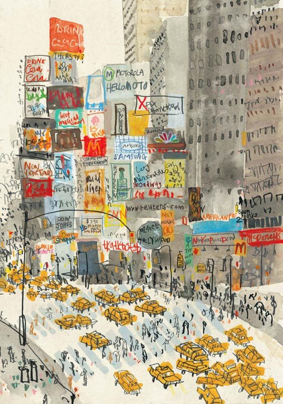Times Square New York by artist and printmaker Clare Caulfield. This Gicleé print is taken from my original mixed-media painting of this bustling