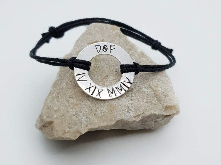 Roman numeral bracelet men , Initials and date anniversary gift , Romantic gift for boyfriend from girlfriend , Long distance relationship