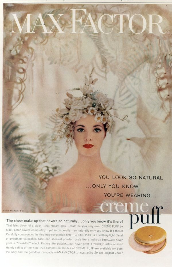 Max Factor 1958 - gorgeous ad. AND yes the big R produced Max Factor at one time