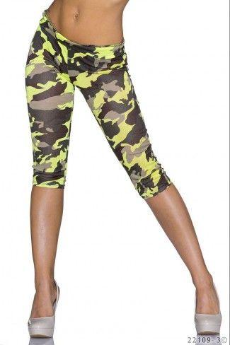 Κάπρι στρατιωτικό leggings - Κίτρινο Καμουφλάζ