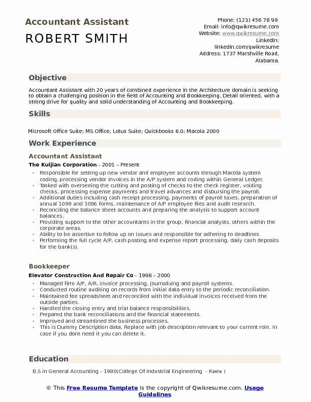 Bookkeeper Resume With Quickbooks Experience Inspirational Accountant Assistant Resume Samples Job Resume Samples Cv Template Cv Design Template