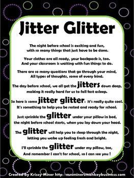 Back to School Letter Packet Freebie Jitter Glitter. Send home before school starts.
