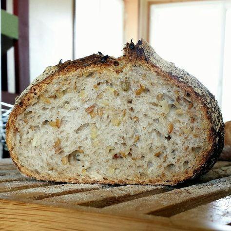 Une très sympatique recette de pain au levain, multigrains et céréales, trouvée via le site Makanaibio qui figure depuis longtemps dans mes favoris. Je suis en fait allé directement voir la so
