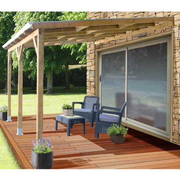 Pergola Adossee Bois Traite Toiture Polycarbonate 3x3 7 M In 2020 Pergola Patio Outdoor Decor