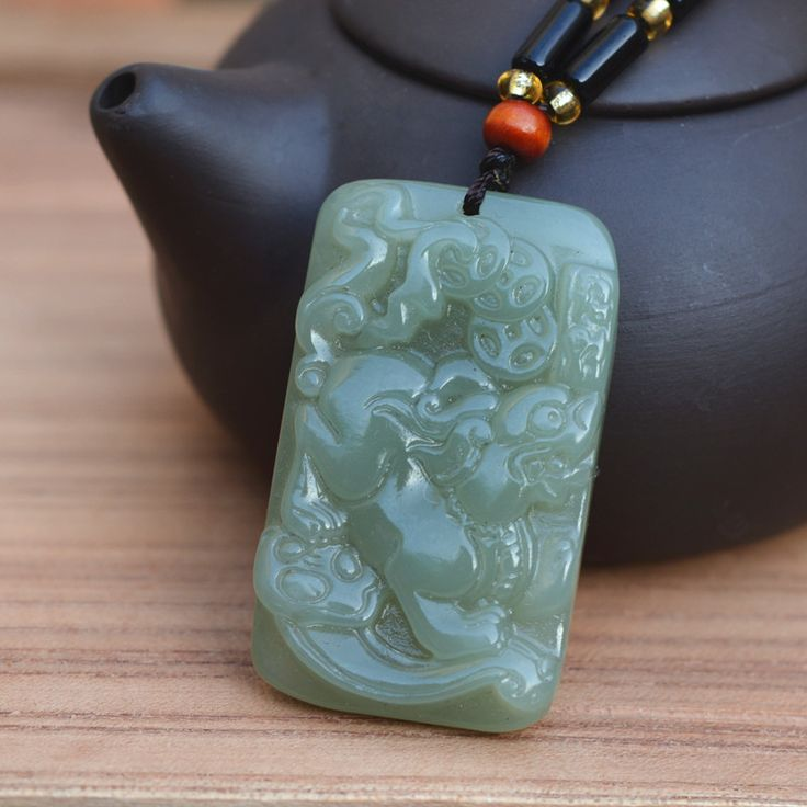 Natural HETIAN Jades Pendant Necklace Carved Animal Pixiu Bring Wealth Pendant Men Women's Jades Stone Jewelry #Affiliate