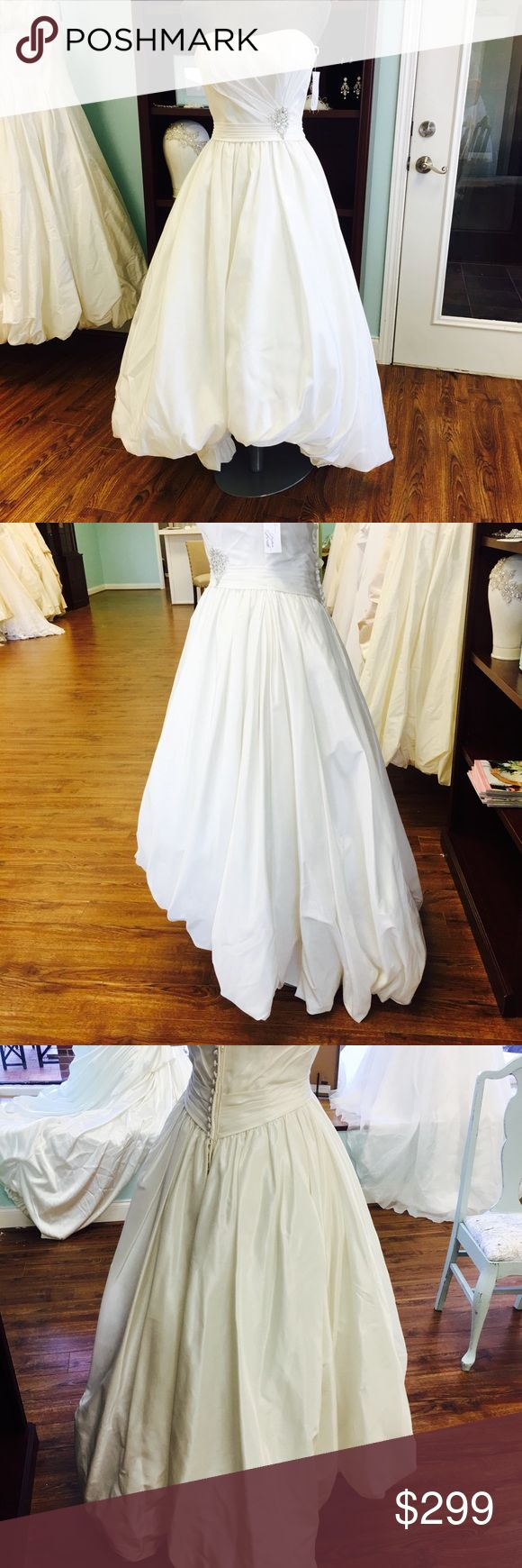Tea length satin wedding dress size 6 Ivory tea length wedding gown Size 6 Brand new private label gown Beautiful crystal brooch Dresses Wedding