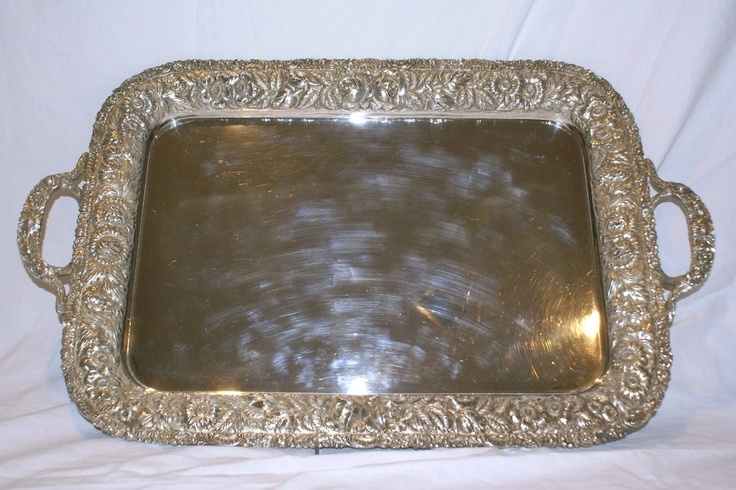 Stieff Repousse HandChased Sterling Silver Tea Tray