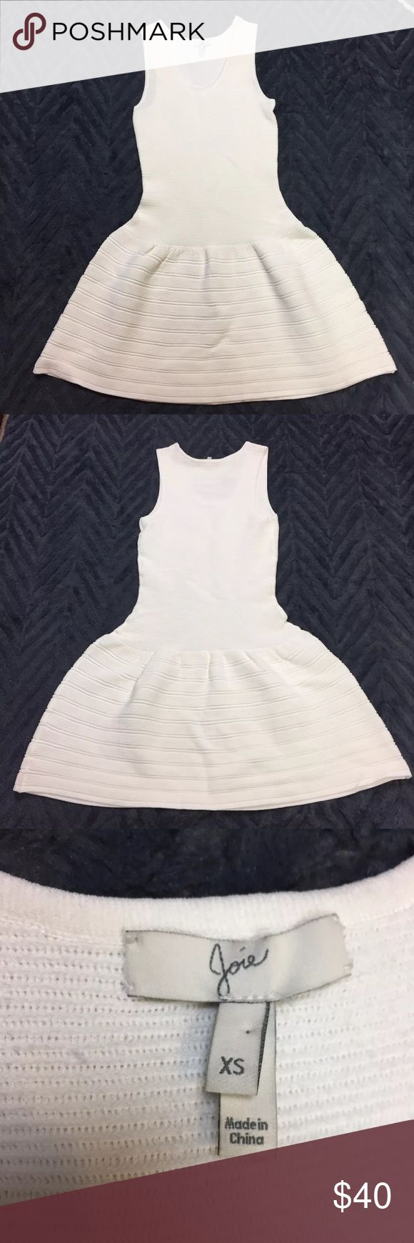 """Joie Slinky Viscose Fit Flare Sleeveless Dress Great used condition, see picture for two snags. Women's size XS slinky cream colored fit and flare Joie dress. 75% viscose 25% nylon  Measurements: Armpit to armpit 13"""" Waist 11.5"""" Shoulder to hem 32"""" Joie Dresses Mini"""