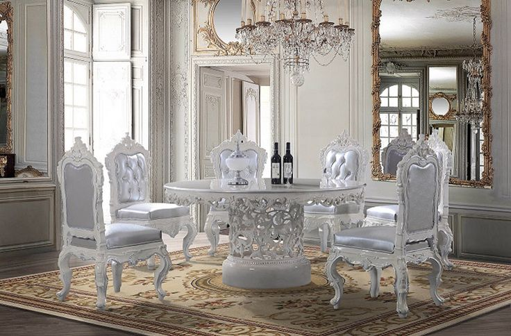High Quality Homey Design  Victorian Round Dining Table With Decorative Center And White  Decorative Wood Trims With Silver Cushion And Fabric Upholstered Back And  Front