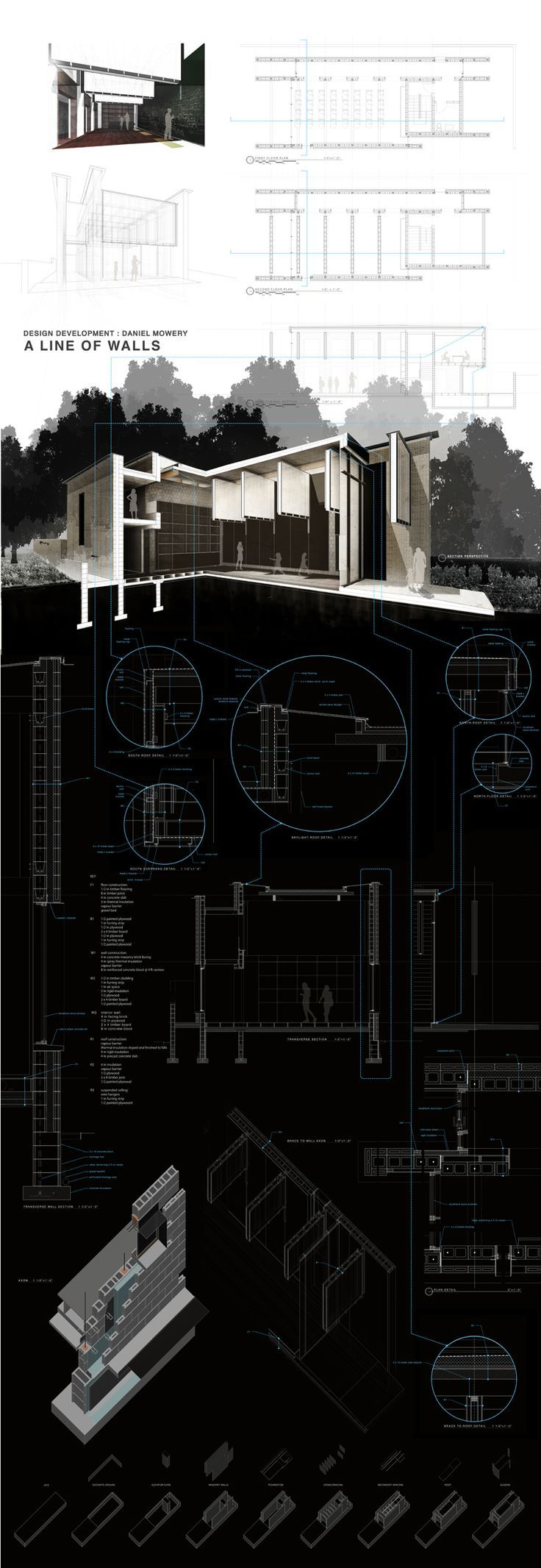 Daniel Mowery / Design Development / A LINE OF WALLS: