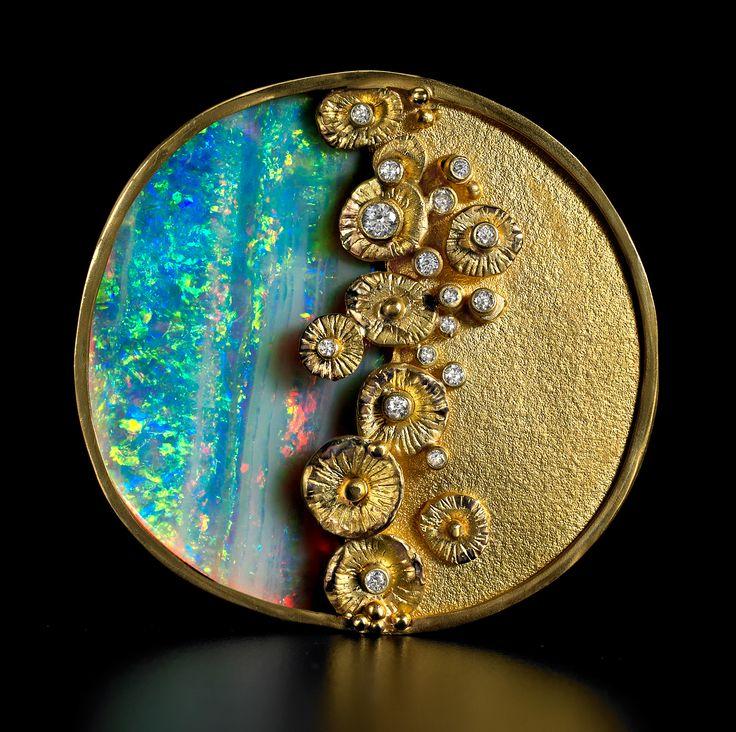 Brooch | Judith Kaufman. Boulder opal, diamonds and 18k gold