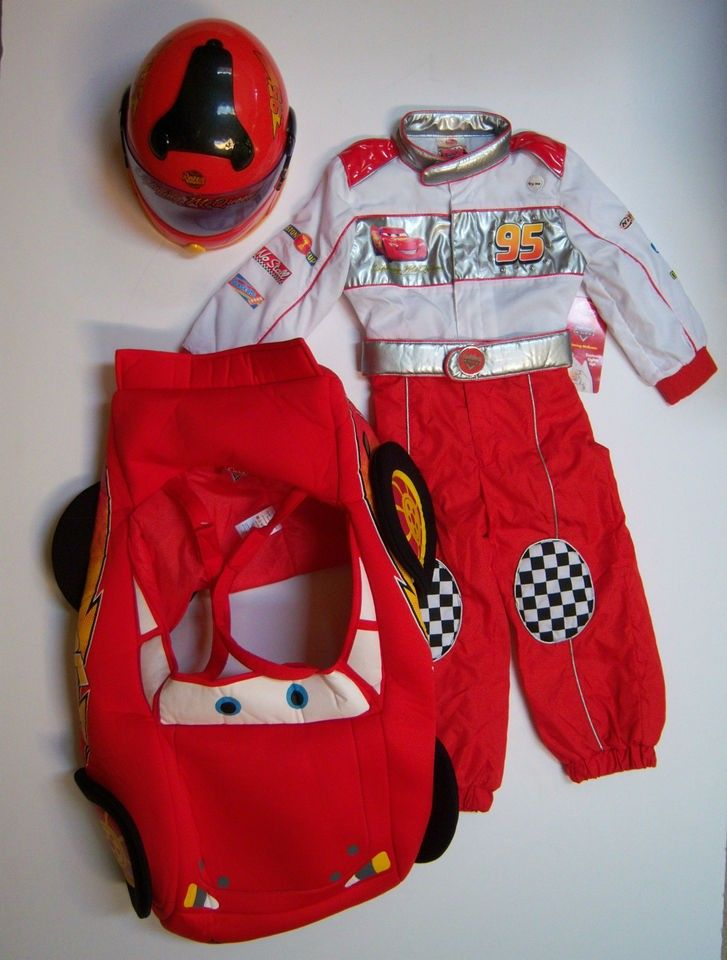 Cars Lightning McQueen Racing Suit Costume XS 4/4T Helmet